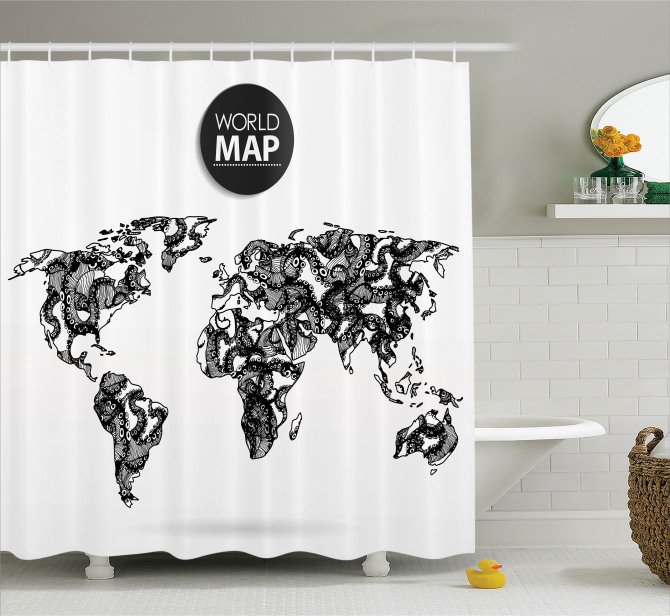 Ahtapot Desenli Duş Perdesi Dünya Haritası Siyah