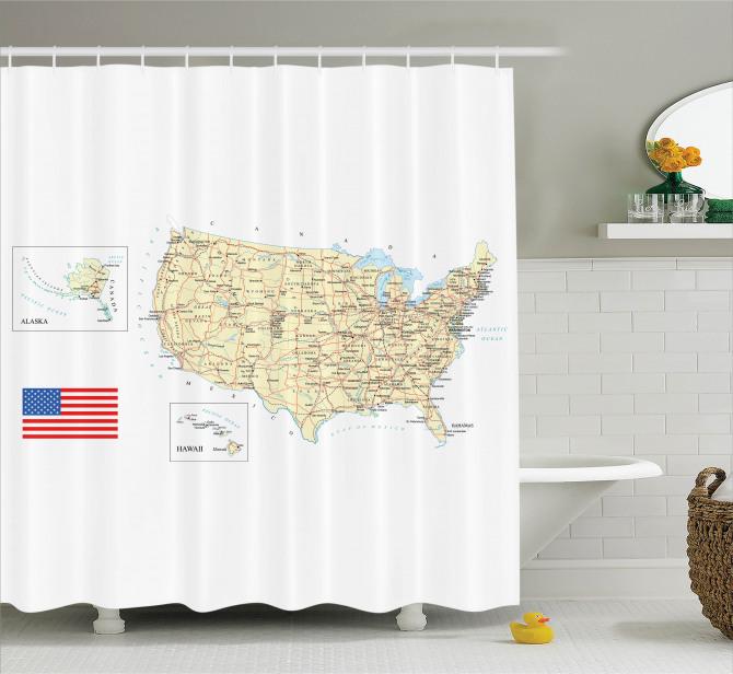 ABD Haritası Temalı Duş Perdesi Seyahat Severlere