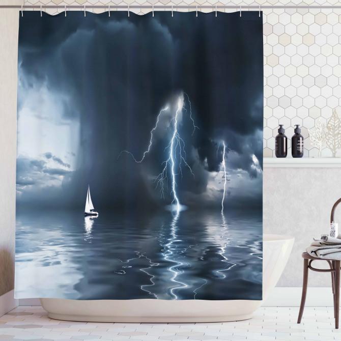 Yıldırım ve Yelkenli Temalı Duş Perdesi Fırtınalı