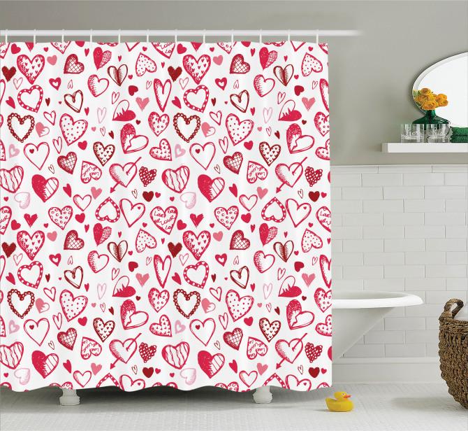 Beyaz Duş Perdesi Pembe ve Kırmızı Kalp Desenli