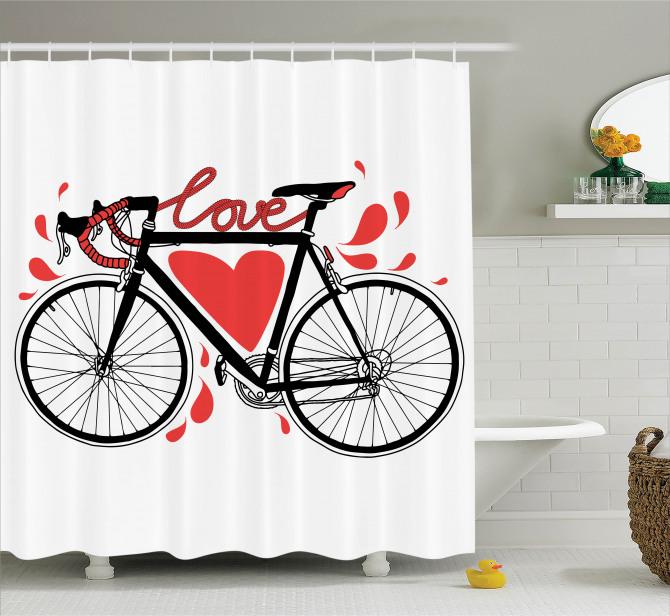 Bisiklet Severlere Duş Perdesi Siyah Beyaz Aşk