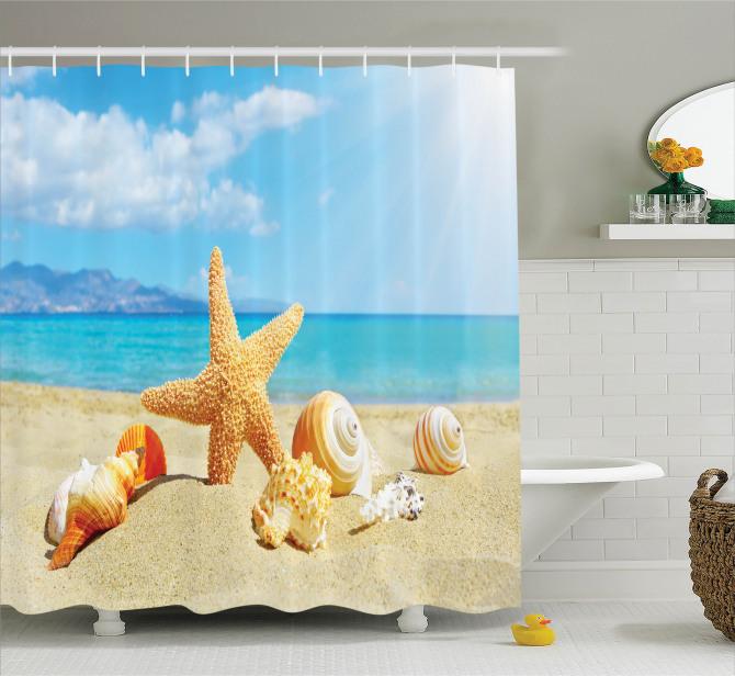 Deniz Yıldızı ve Plaj Desenli Duş Perdesi Bej Mavi