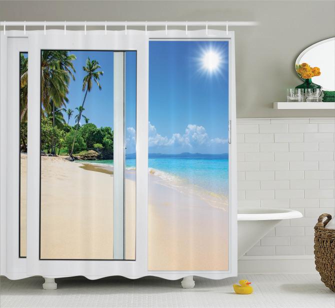 Kumsalda Güneşli Bir Gün Temalı Duş Perdesi Egzotik