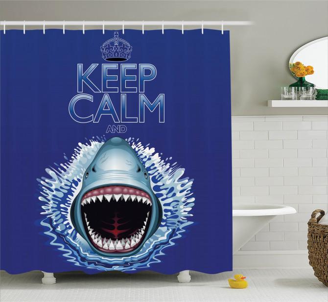 Köpek Balığı ve Dişleri Desenli Duş Perdesi Mavi