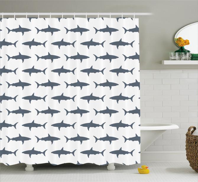 Mavi Köpek Balığı Desenli Duş Perdesi Beyaz Fonlu