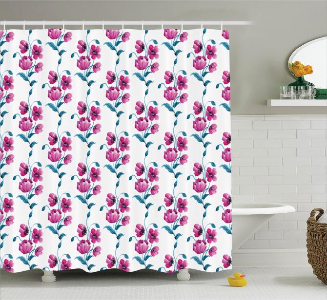 Pembe Çiçek Desenli Duş Perdesi Trend Şık Tasarım