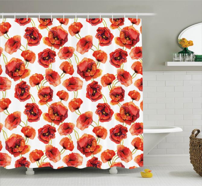 Şık Tasarım Gelincik Desenli Duş Perdesi Çiçekli