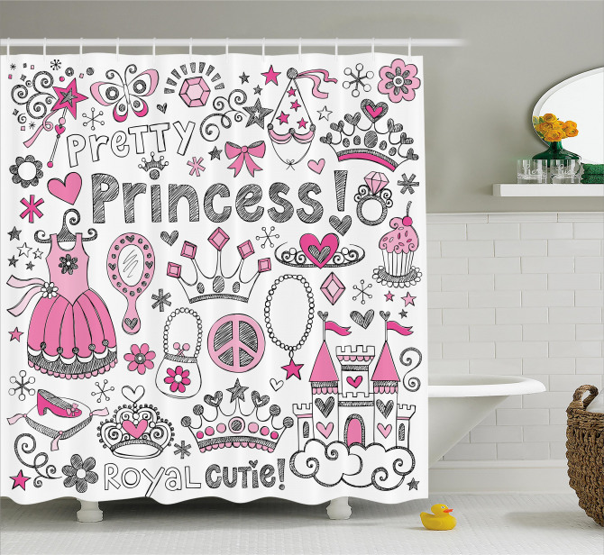 Masal Temalı Duş Perdesi Çocuk İçin Pembe Prenses