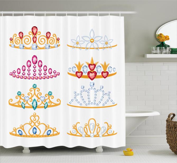 Prenses Temalı Duş Perdesi Taç Şık Tasarım Beyaz
