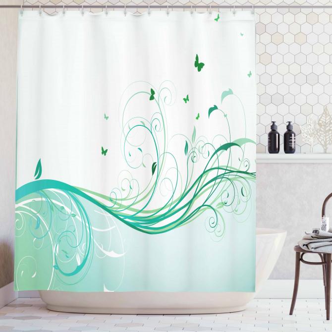 Yeşil Kelebek Desenli Duş Perdesi Çiçekli Çeyizlik