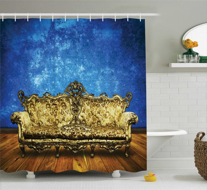 Antik Oda Temalı Duş Perdesi Mavi Altın Sarısı