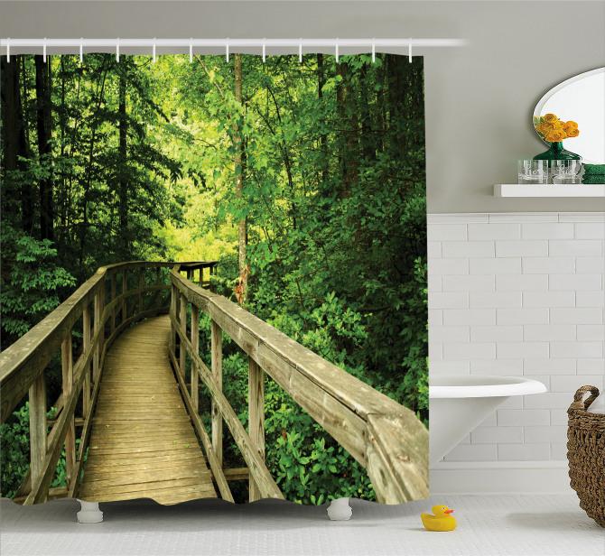 Ormandaki Ahşap Yol Temalı Duş Perdesi Yeşil Doğa