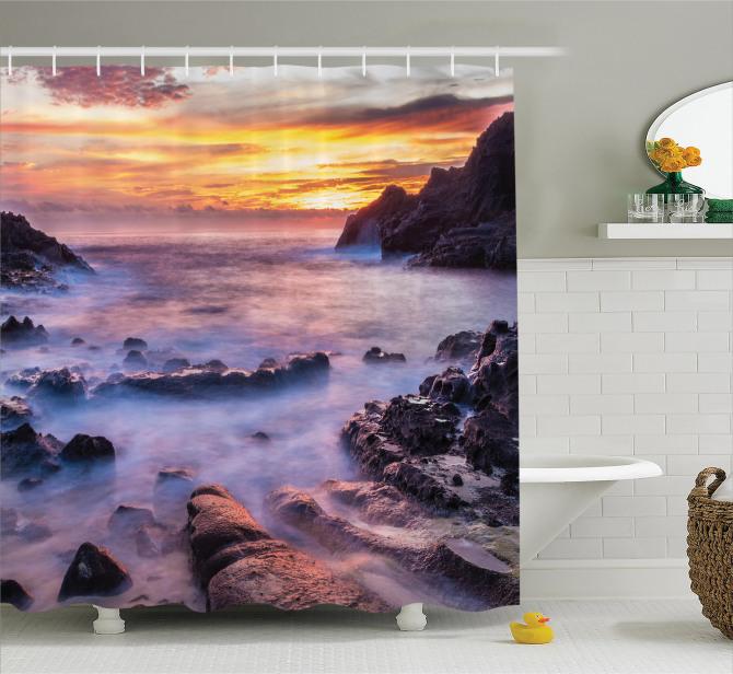 Plajda Gün Doğumu Manzaralı Duş Perdesi Romantik Şık
