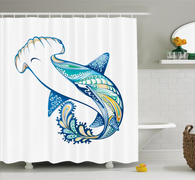 Köpek Balığı Desenli Duş Perdesi Mavi Deniz Temalı
