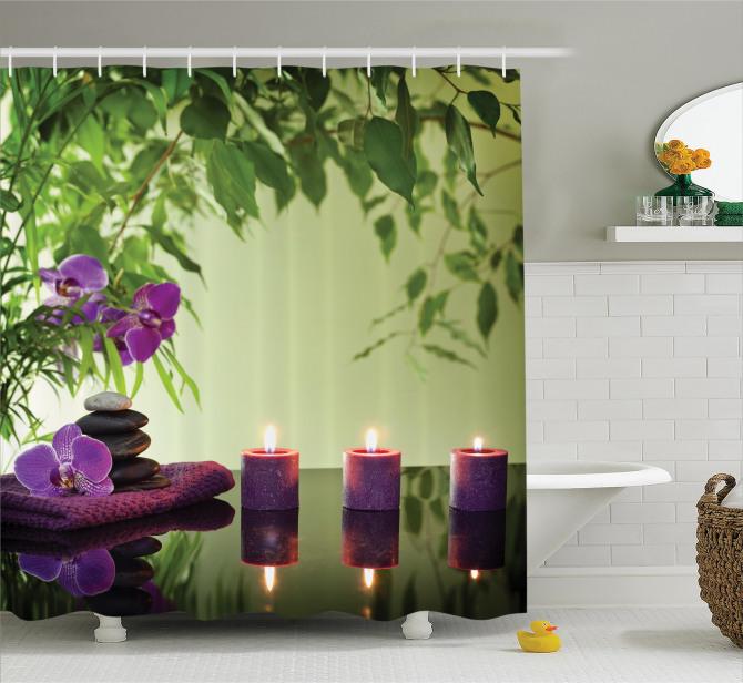 Zen Temalı Duş Perdesi Mum Mor Orkide Sağlık Masaj