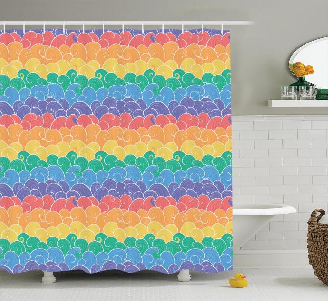 Rengarenk Dalgalar Desenli Duş Perdesi Şık Tasarım