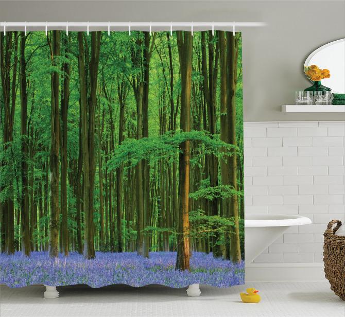 Orman ve Çiçekler Temalı Duş Perdesi Yeşil ve Mavi
