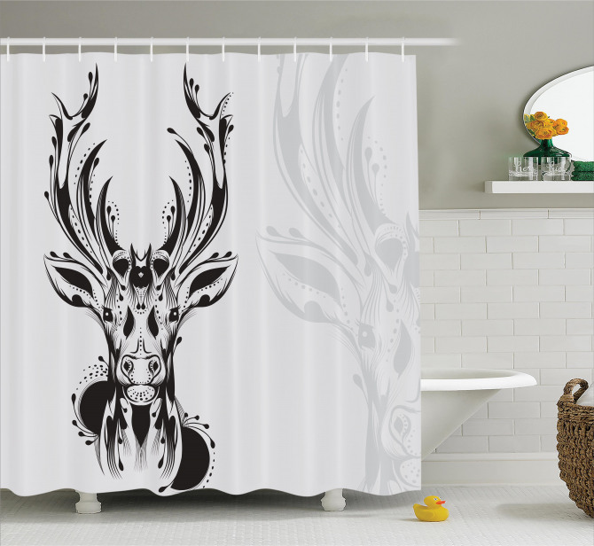 Tribal Deer Shadow Art Shower Curtain