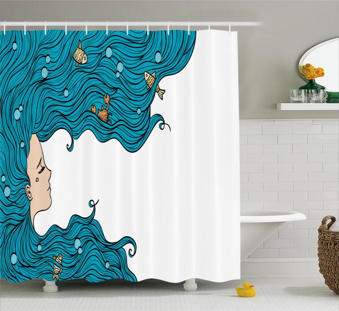 Mavi Saçlı Deniz Kızı Portreli Duş Perdesi Balık
