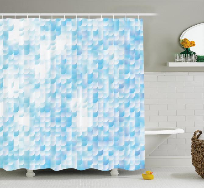 Mozaik Desenli Duş Perdesi Mavi Beyaz Çeyizlik