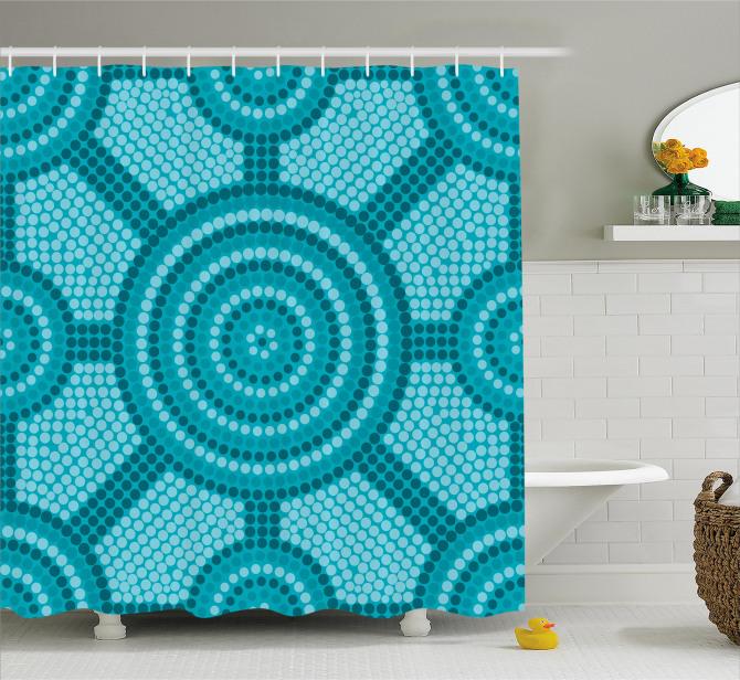 Mavi Mozaik Desenli Duş Perdesi Yuvarlak Şık