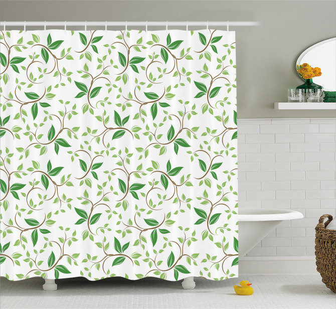Fancy Ivy Green Leaves Shower Curtain