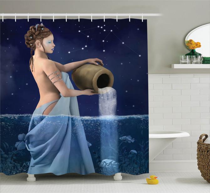 Kova Burcu Temalı Duş Perdesi Mavi Sembol