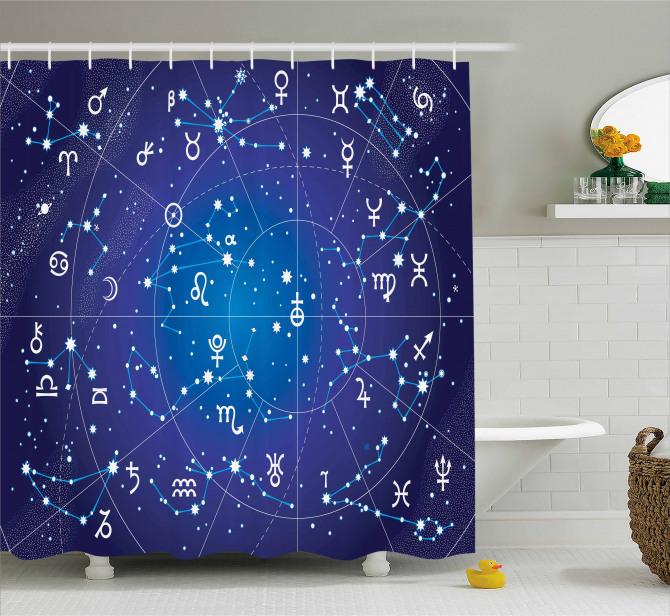 Burçlar Temalı Duş Perdesi Astroloji Haritası