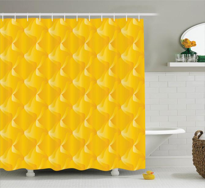 Sarı Dekoratif Desenli Duş Perdesi Şık Tasarım