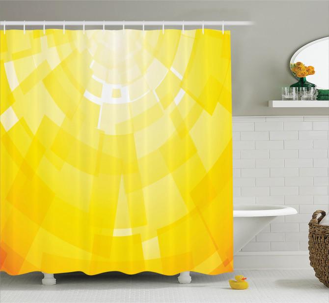 Sarı Arka Planlı Duş Perdesi Dekoratif Şık