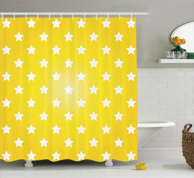 Beyaz Yıldız Temalı Duş Perdesi Sarı Arka Plan