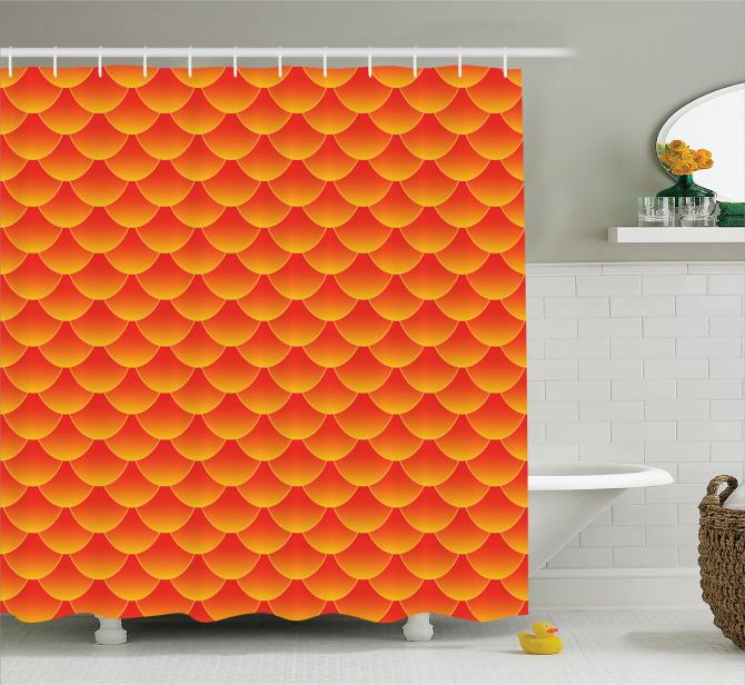 Turuncu Duş Perdesi Modern Sanat Trend Şık Tasarım