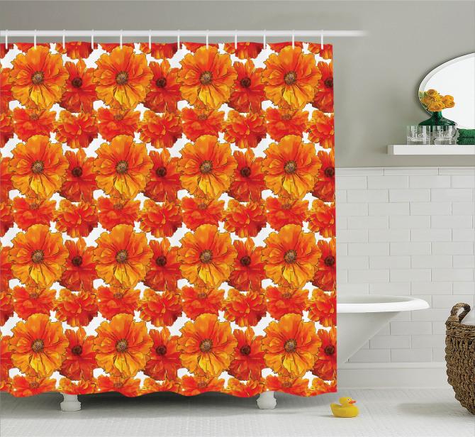 Turuncu Duş Perdesi Romantik Gelincik Çiçekleri