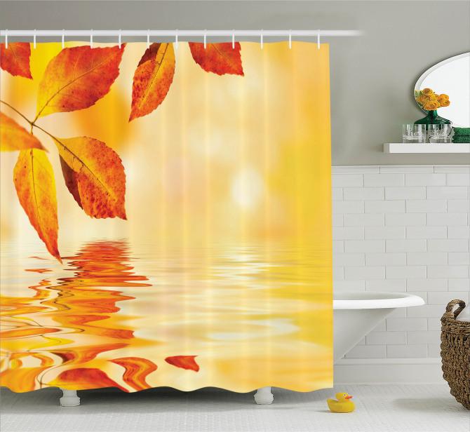 Büyüleyici Güneş Temalı Duş Perdesi Sonbahar Yaprağı