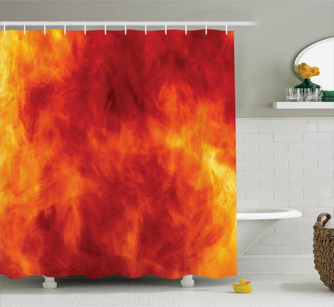 Turuncu Duş Perdesi Ateş Temalı Modern Sanat Sarı