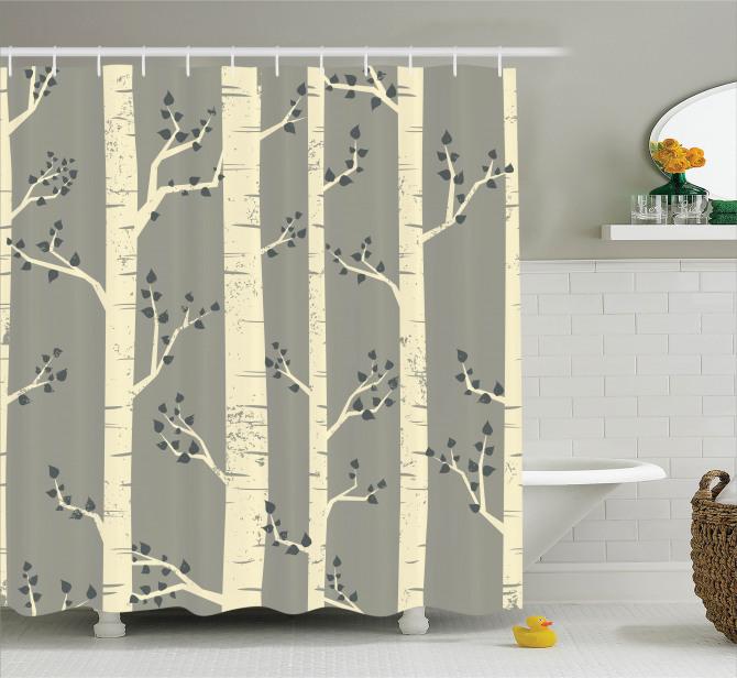 Birch Trees Nature Boho Shower Curtain