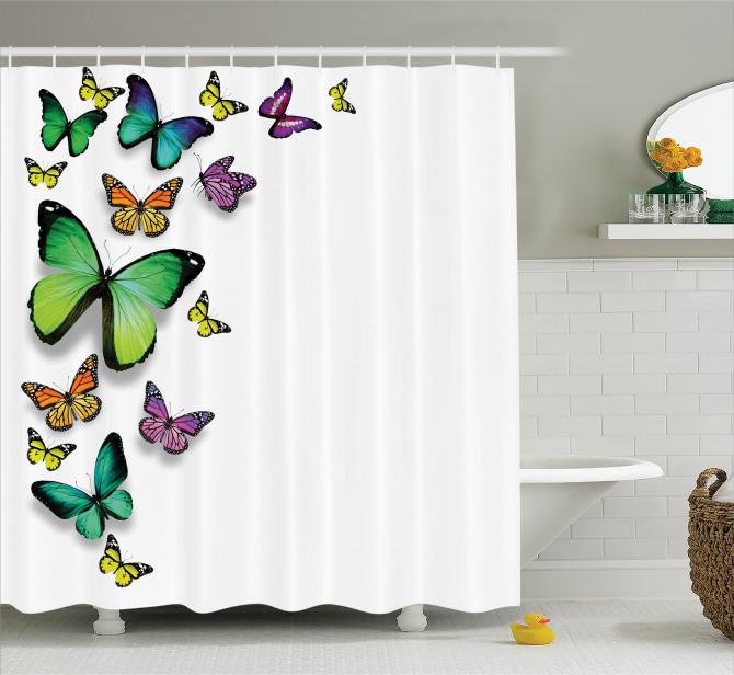 Rengarenk Kelebek Desenli Duş Perdesi Bahar Çeyizlik