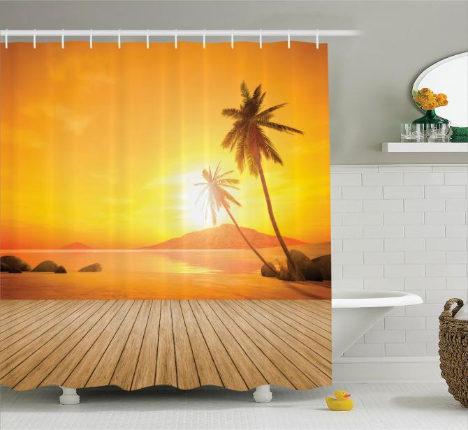 Gün Batımı Temalı Duş Perdesi Tropikal Ada Turuncu