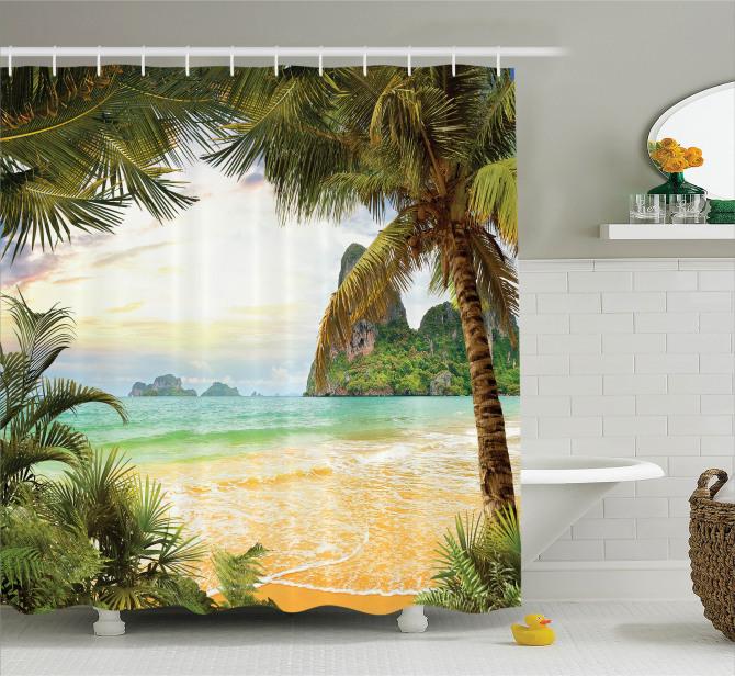 Doğal Cennet Manzaralı Duş Perdesi Kumsalda Dalgalar
