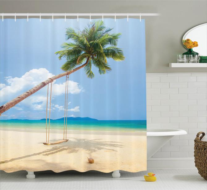 Issız Ada Temalı Duş Perdesi Tropikal Egzotik Mavi