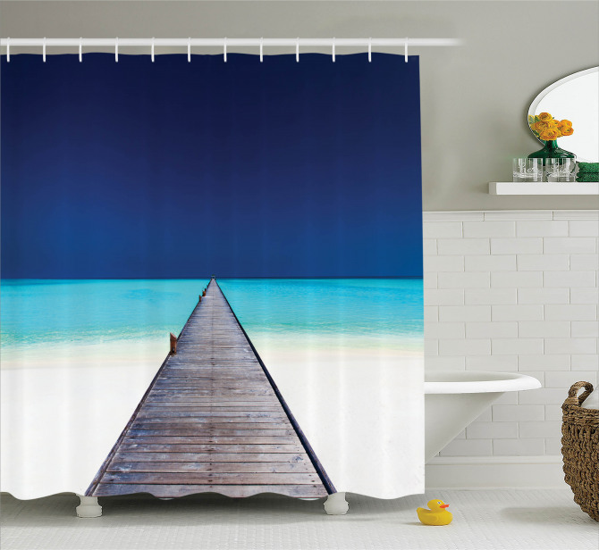 Wooden Path Into Ocean Shower Curtain