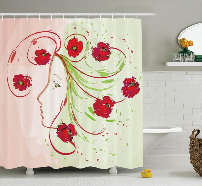 Çiçek Desenli Duş Perdesi Gelinciklerle Kadın Yüzü