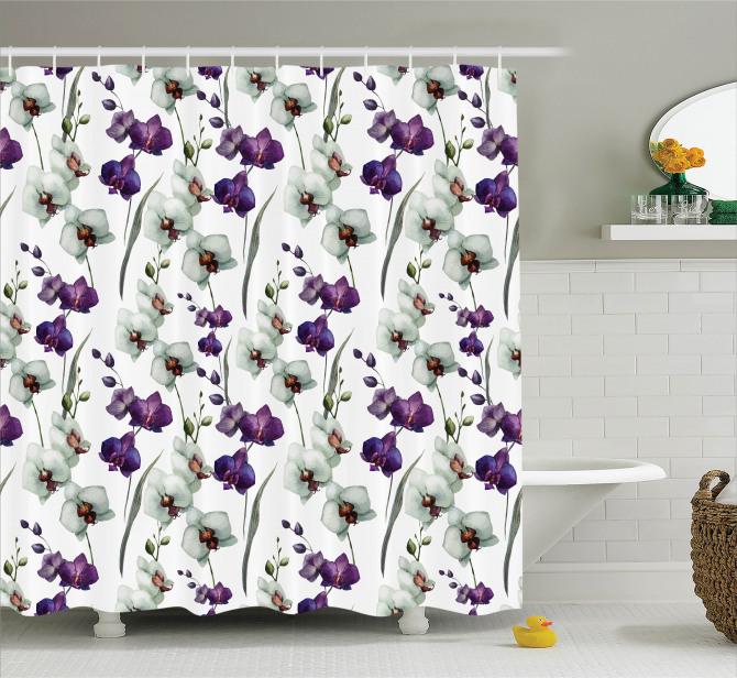 Çiçek Desenli Duş Perdesi Orkide Çeyizlik Mor Beyaz