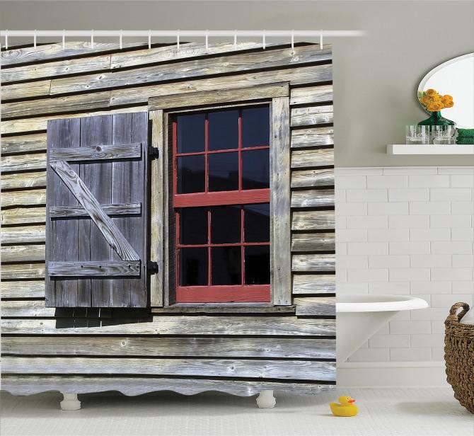 Antik Ahşap Pencereli Duş Perdesi Kahverengi
