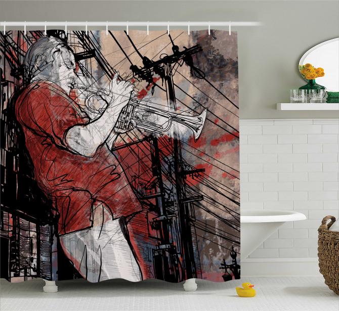 Müzisyen Temalı Duş Perdesi Müzik Caz Trompet