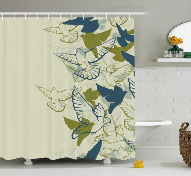 Yeşil Kuş Desenli Duş Perdesi Şık Tasarım