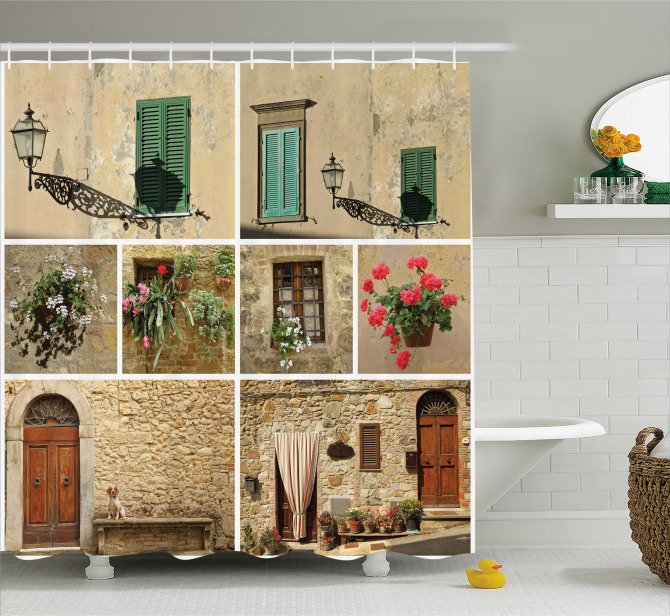 Italian Stone Houses Shower Curtain