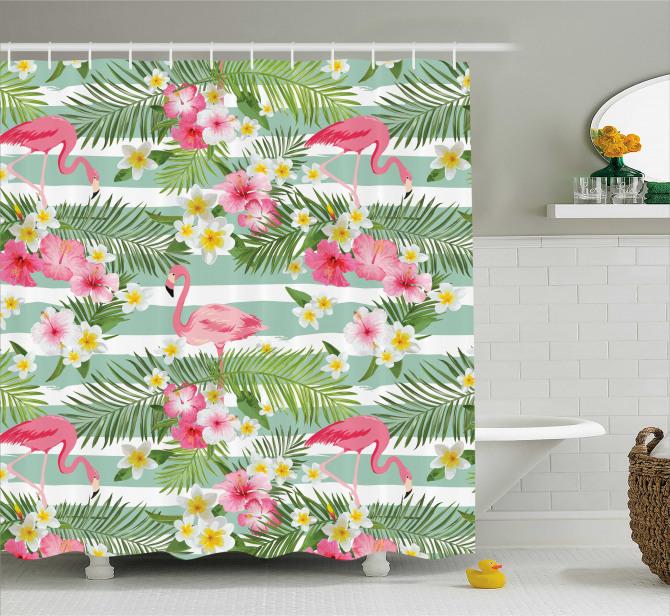 Yeşil Duş Perdesi Flamingo ve Tropikal Çiçekler