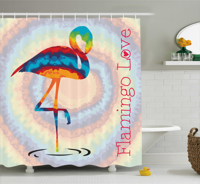 Rengarenk Flamingo Desenli Duş Perdesi Modern Sanat