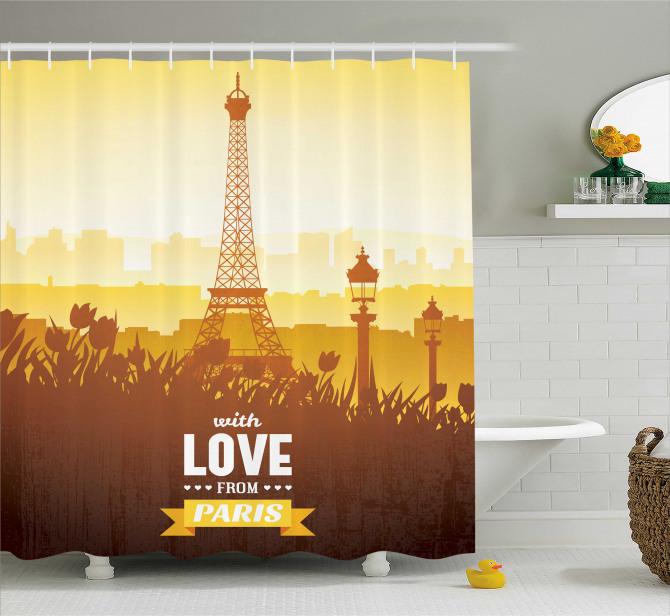 Aşk Şehri Paris Temalı Duş Perdesi Eyfel Kulesi Sarı